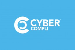 cybercompli logo, whiteout on blue background