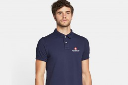 man wearing reynolds poloshirt design