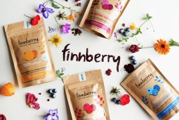 A photo of the finnberry packaging range, featuring four flavours